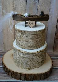 Rustic Canoe Boat Bride Groom Wedding Cake Topper