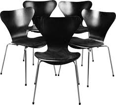100 Fritz 5 Set Of Vintage Chairs For Hansen In Wood And Black Metal
