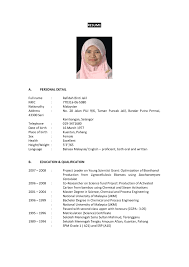 Curriculum Vitae Sample Format Malaysia Best Resume Olalaopx