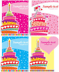 Colorful Happy Birthday card templates vector