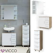 details zu vicco badmöbel set ilias weiß eiche bad spiegel kommode unterschrank badschrank