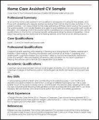 Home Care Assistant Sample Social Work Cv Template Uk