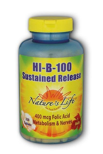 Nature's Life Hi-B-100 Sustained Release, 400 mcg, Tablets - 250 count