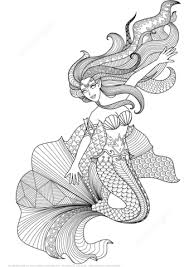 Click To See Printable Version Of Mermaid Zentangle Coloring Page