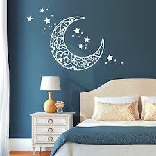 details zu 11117 wandtattoo mond sterne schlafzimmer moon weiß kinderzimmer träumen