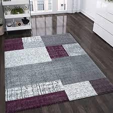 vimoda teppich kurzflor in lila grau weiß maße 80x150 cm