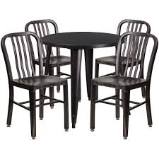 30 Round Black Antique Gold Metal Indoor Outdoor Table Set With 4