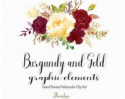 Burgundy And Gold Watercolor Clipartburgundy Flower Clipartmarsala Rose Clipart