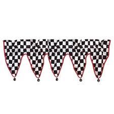 checkered flag car racing window valance curtain treatment decor