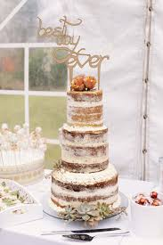 Stunning Naked Wedding Cake Decorated With Succulents And Laser Cut Wooden Topper Best Day