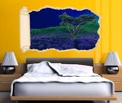 3d wandtattoo tapete landschaft blau lila baum herbst wald durchbruch selbstklebend wandbild wandsticker wohnzimmer wand aufkleber 11o1643