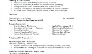 Resume For A Pharmacy Technician Fine Objective Example Cv Examples