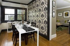 Pretty Black Crown Molding Dining Room Contemporary With Damask