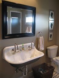 Small Double Vanity Sink by Bathroom Provides A Transitional Design Perfect With Trough Sinks