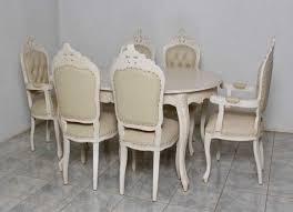 barock esszimmer garnitur artes oval alt weiß goldende nieten 1 tisch mit 6 stühlen