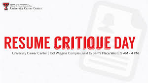Resume Critique Day | University Career Center | TTU Free Resume Critique Service Ramacicerosco Resume Critique Week The College Of Saint Rose 10 Best Free Review Sites In 2019 List 14 Fantastic Vacation Realty Executives Mi Invoice And Resum Of Your Dreams What You Need To Know Make Cv Online Luxury Line Beautiful 30 A Toolkit To Make The Job Search Easier For Jobseekers Adam 99 My Wwwautoalbuminfo Back End Developer Front New Elegant Bmw Jobs Format 1 Reporter 13 Ways Youre Fucking Up Critiquepdf Docdroid