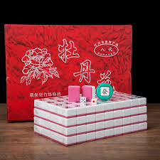 Pai Gow Tiles Strategy by Traditional Chinese Mahjong Game Set 144 2 Spares Pink Color Tiles