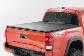 Soft Tri-Fold Bed Cover For 16-17 Toyota Tacoma | Rough Country ... Vortrak Retractable Truck Bed Cover Heavy Duty Hard Tonneau Covers Diamondback Hd Undcover Flex Highway Products Inc Bak Flip Mx4 From Logic Accsories Best Buy In 2017 Youtube Commercial Alinum Caps Are Caps Truck Toppers Tonnopro Accories Vicrezcom Sportwrap Lid Soft Trifold For 42017 Toyota Tundra Rough Country Fletchers Missouri