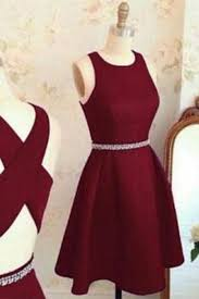 Burgundy Chiffon Round Neck A Line Cross Back Short Prom Dresssimple Dress For Teens