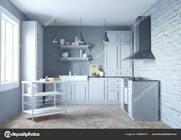 Modern White Kitchen Interior 3d Rendering Stockfoto Und 3d Rendering Of The New Modern Kitchen Interior In White And Gre 185804374