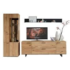 hartmann runa wohnwand kombi 28 massivholz kerneiche natur applikation rinde tv board vitrine wandbord für wohnzimmer beleuchtung wählbar
