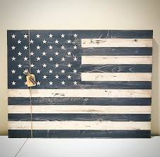 Wood American Flag Sign Distressed Rustic Wooden Plank USA