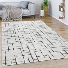 teppich wohnzimmer kurzflor mit modernem abstrakten muster geometrisch creme grau grösse 160x230 cm