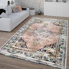 vintage teppich frisé kurzflor für wohnzimmer orient