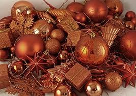 125 Piece Club Pack Of Shatterproof Burnt Orange Christmas Ornaments