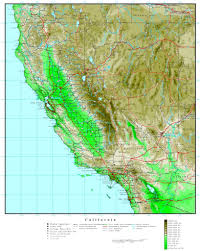 California Elevation Map Outline With Nevada Cities X Gallery For Website