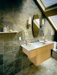 faux slate tile shower bathroom asian with neutral colors