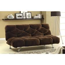 Brown Velvet Futon Beds Tar With Metal Legs For Home Furniture