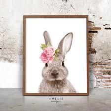 Nursery Wall Art Rabbit Print Woodlands Decor Watercolour Flower Bunny Printable Pink Peach Yellow Mint Lavender Shabby Cottage Chic