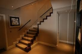 mesmerizing glass staircase lighting decors added grey wall