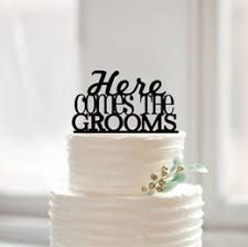 Here Comes The Grooms Gays Cake Topper Wedding Toppers Rustic Accessories Fashionable Same Sex Decoration