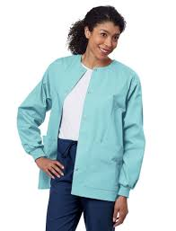 Ceil Blue Print Scrub Jackets by Essentials Basic Warm Up Scrub Jacket