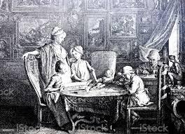 familie im wohnzimmer an einem tisch sitzen spielen und sprechen stock vektor und mehr bilder 16 jahrhundert