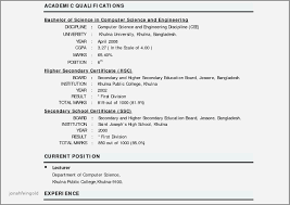 Sample Resume For Computer Teachers Freshers Awesome Format Fresher Teacher Amazing Pdf India