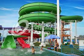 Green Big Commercial Pool Water Slides For Theme Park Backyard Kids