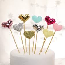 Online Shop 10pcs Cute Heart Start Design Cupcake Topper Food Fruit Sticks For Baby Shower Kids Birthday Wedding Party Cake Decoration