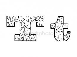 Anti Coloring Book Alphabet The Letter T Vector Illustration Stock