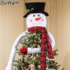 OurWarm Snowman Hat Christmas Tree Topper Decorations Xmas Ornament New Year Decoration 6