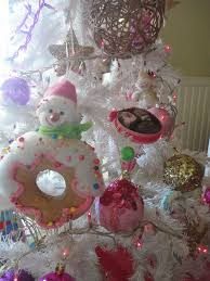 Nice Table Top Christmas Decorations Showing White Tree With Pink Snowman And Brown