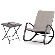Sophia And William Outdoor Patio Rocking Chair Folding Patio Side Table  Rocker Chair With Small Square End Tables (Black&Grey) Portable Char Foldng Campng Beach Outdoor Pato Lawn Photo Of Folding Patio Chairs Plastic Cosco Products Sco Living All Steel 3piece Pnic Time Pink Sports Chair With Stripes With Table Attached Refurbished Repurposed Materials 10 The Black And White Wedding Reception Dinner Table Setup Chaise Lounge Elastic Headrests Included Set Zero Gravity W 2 Cup Holders Uv Resistant Recling Padded Ideas Dectable Wood And Wooden Foldable Mainstays Sand Dune Tan Walmartcom Vintage Mid Century Modern Slats