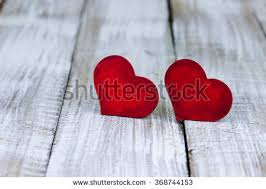 Red Wood Hearts On White Painted Rustic Antique Wooden Background Valentines Day And Love Concept