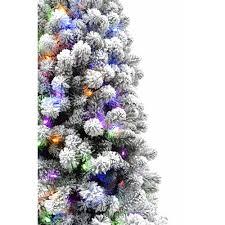 75 Ft Flocked Alaskan Pine Christmas Tree With Multi Color LED String Lighting
