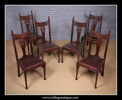 Six Art Nouveau Dining Chairs. - Collinge Antiques Set Of 4 Quality Art Nouveau Golden Oak High Slat Back Ding Chairs 554 Art Nouveau Ding Table And Chairs 3d Model Vintage 6 Antique French 1900 Walnut Nailhead Set 8 Edwardian Satinwood Beech Four Art Nouveau Louis Majorelle Ding Chairs Jan 16 2019 Room And Sale Mid Century Hand Made Game By Terry Bostwick Casa Padrino Luxury Dark Brown Cream 51 X Round In The Unique Timeless Tufted Armchair Chair Blue Velvet Navy 1900s Vinterior