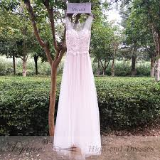 Mryarce Elegant Outdoor Bohemian Bridal Dress Illusion Neck Lace Appliqued A Line Flowy Tulle Rustic Garden Wedding Dresses In From Weddings