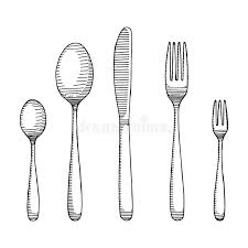 Download Fork And Spoon With A Knife Drawing Cutlery Sketch Vector Stock Vector Illustration