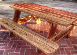redwood picnic table with 2x8 and 2x6 heavy duty construction